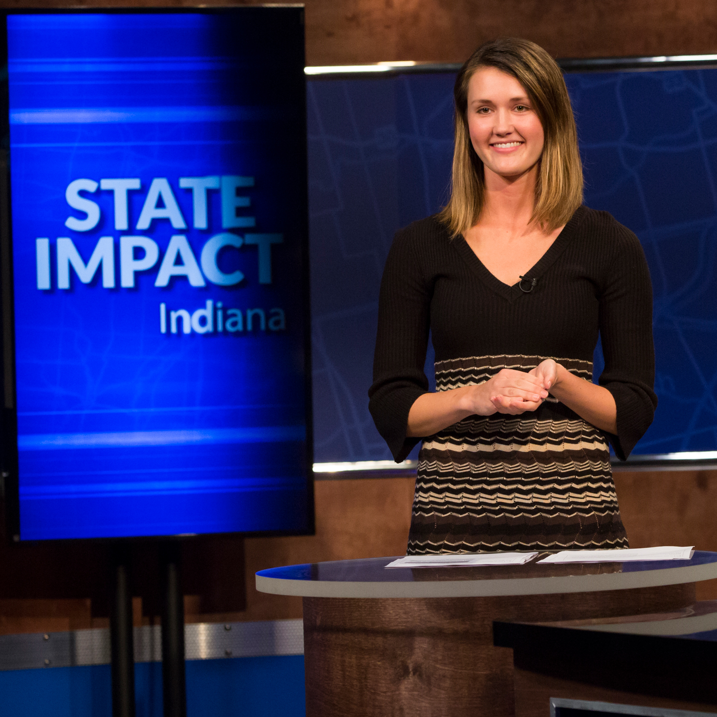 Student anchors State Impact Indiana during her internship.