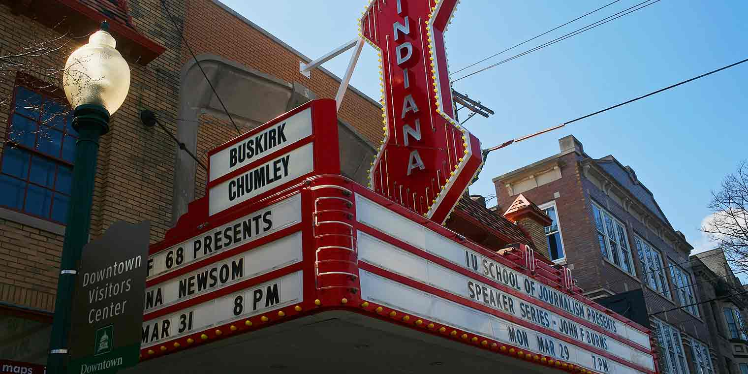 The Buskirk Chumley theatre's marquee sign outside