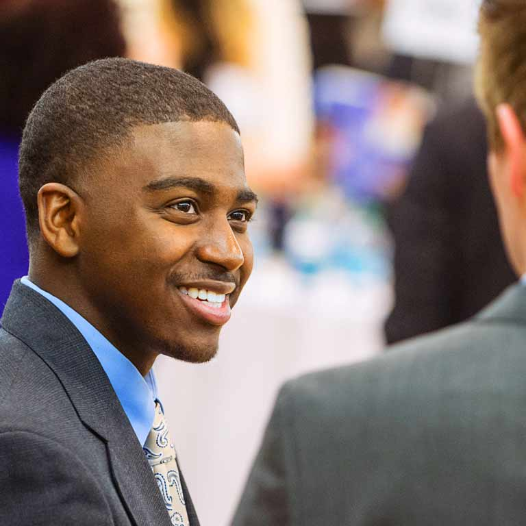A student at a career event.