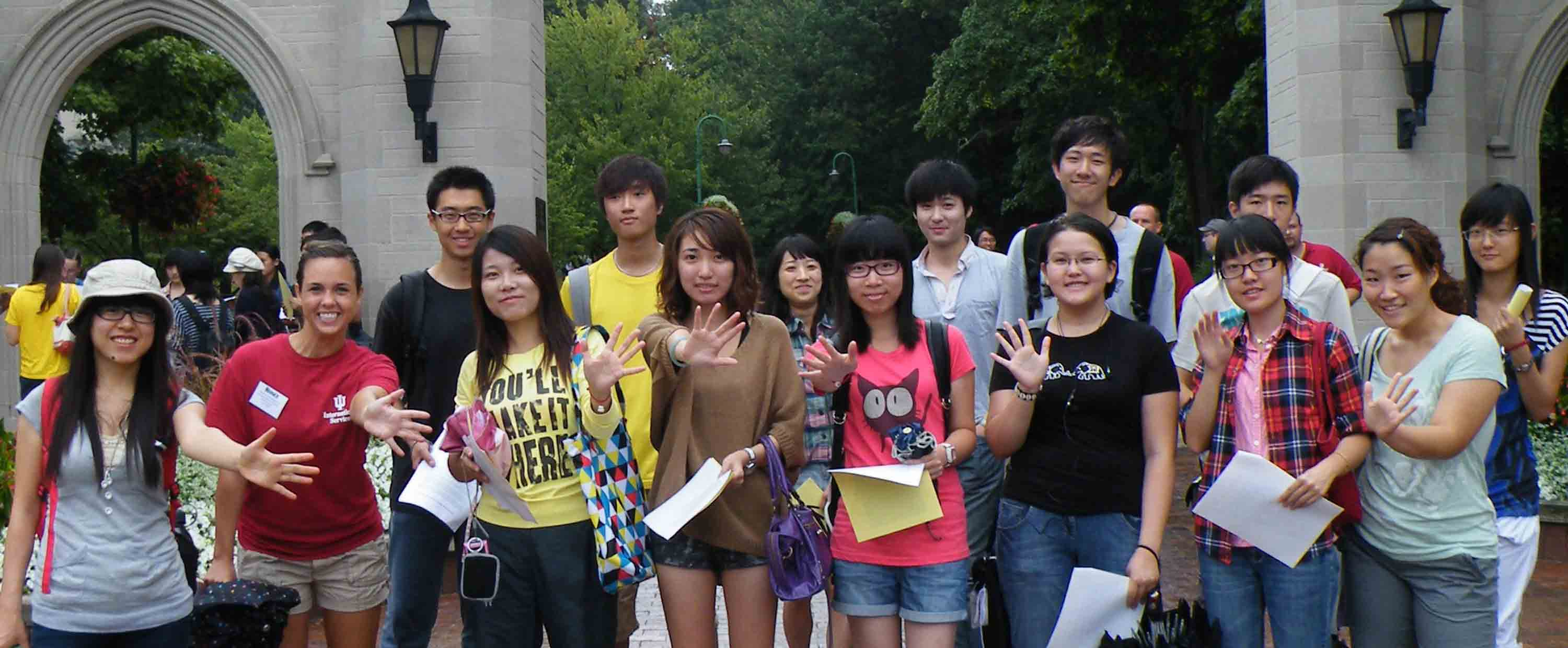 International students in front of the sample gates