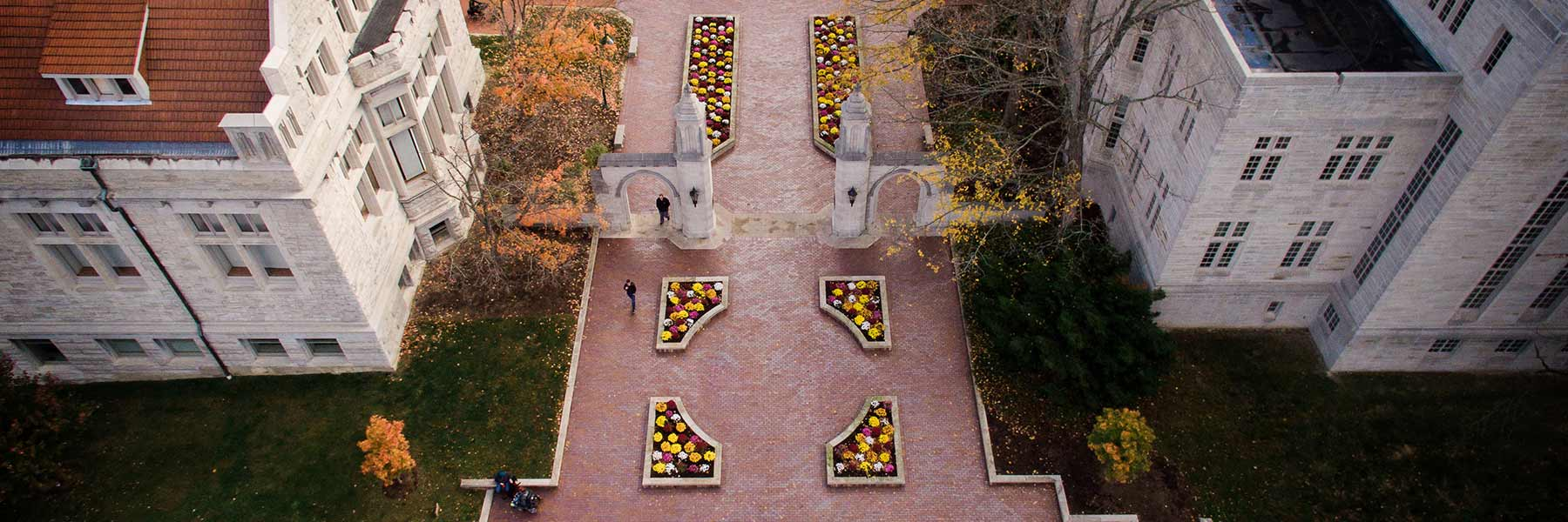 Aerial image of the Sample Gates on a fall day.