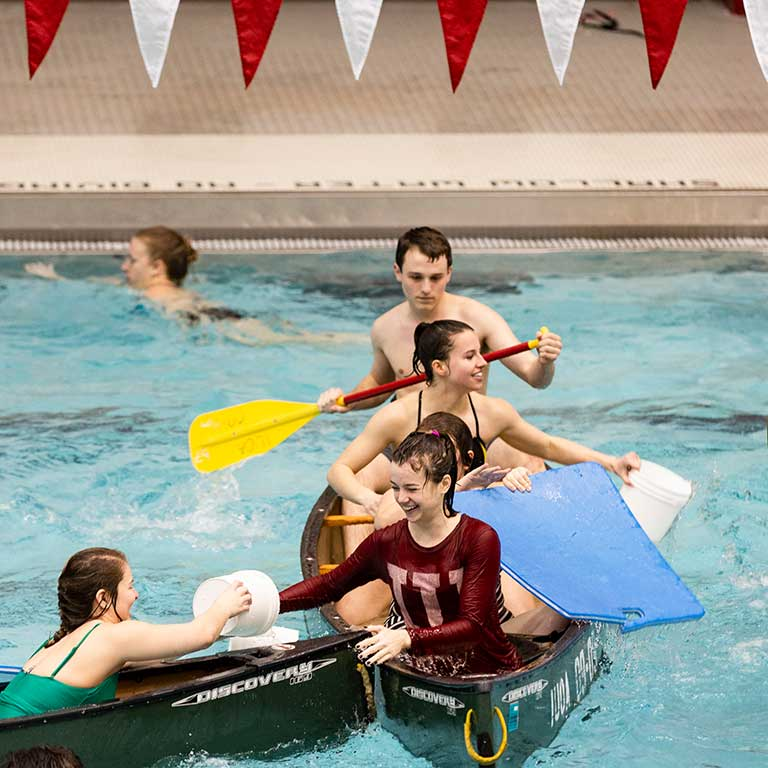 Students play the water game Battleship in one of IU's pools.