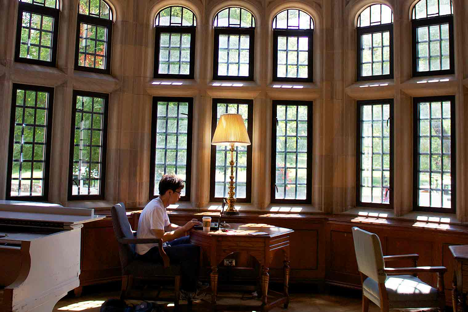 A student studies in the IMU